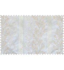 Beige white color twigs with stripes poly sheer curtain - 102509