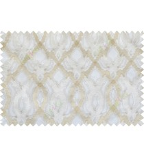 Beige white color tamara trellis moroccan poly sheer curtain - 102510