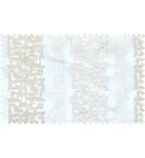 Beige white color abstract stripes poly sheer curtain - 102511