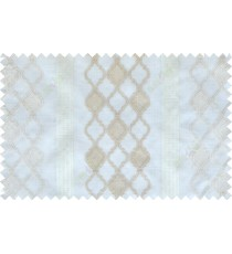 Beige white color safavieh moroccan pattern with stripes poly sheer curtain - 112514