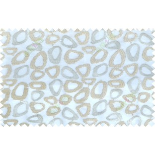 Beige white color geometric design poly sheer curtain - 112515