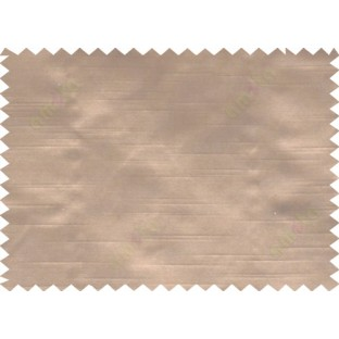 Brown colour solid plain with horizontal pencil stripes poly main curtain - 112516