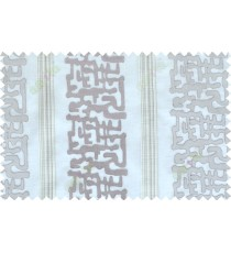 Grey beige brown color abstract stripes poly sheer curtain - 102522
