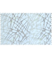 Grey white white color abstract design with emb poly sheer curtain - 112525