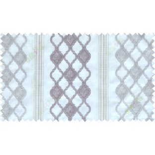 Grey beige brown color safavieh moroccan pattern with stripes poly sheer curtain - 112526
