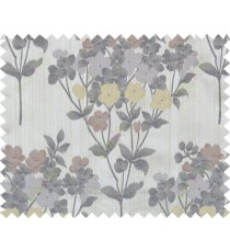 Yellow maroon brown grey purple blue natural floral design polycotton main curtain designs