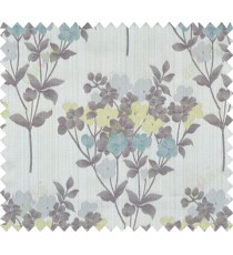 Yellow blue brown grey natural floral design polycotton main curtain designs