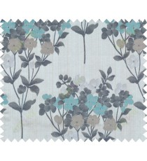 Aqua blue black brown grey natural floral design polycotton main curtain designs