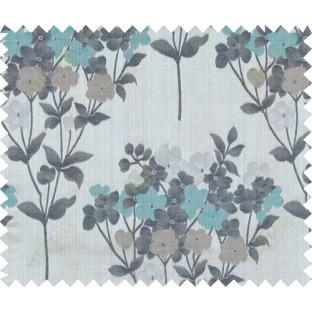 Aqua blue black brown grey natural floral design polycotton main curtain designs