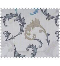 Aqua blue black grey brown colour floral paisley design polycotton main curtain designs
