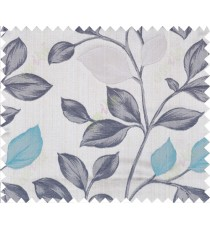 Aqua blue black brown grey silver colour beautiful natural floral design polycotton main curtain designs