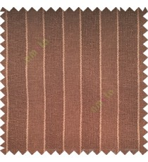 Dark chocolate brown color vertical parallel stripes texture finished with polyester transparent net finished base fabric small texture gradients sheer curtain
