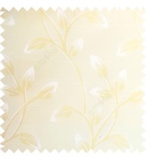 Beige color beautiful long flower tree leaf pattern horizontal lines texture finished background polyester main curtain fabric