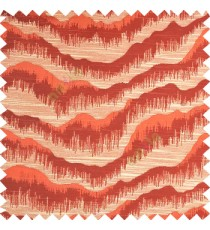 Orange color horizontal flowing waves texture finished sound waves vertical hanging lines polyester main curtain fabric