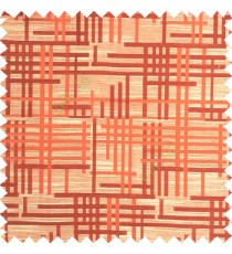Orange beige color vertical and horizontal crossing lines abstract pattern puzzle lines texture finished polyester main curtain fabric