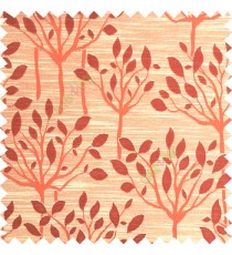 Orange beige color natural finished tree with leaf design texture and horizontal lines polyester main curtain fabric