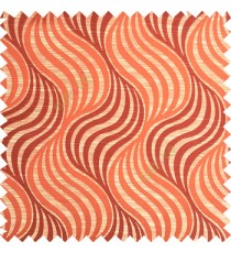 Orange beige color vertical flowing waves ogee pattern texture finished background polyester main curtain fabric