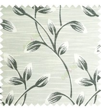 Black beige color beautiful long flower tree leaf pattern horizontal lines texture finished background polyester main curtain fabric