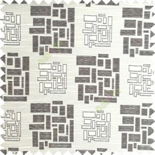Black beige color rectangular and cube shapes geometric patterns horizontal lines polyester main curtain fabric