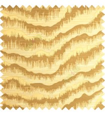 Golden green color horizontal flowing waves texture finished sound waves vertical hanging lines polyester main curtain fabric