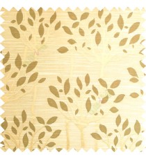 Gold green color natural finished tree with leaf design texture and horizontal lines polyester main curtain fabric