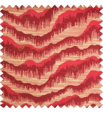 Maroon color horizontal flowing waves texture finished sound waves vertical hanging lines polyester main curtain fabric