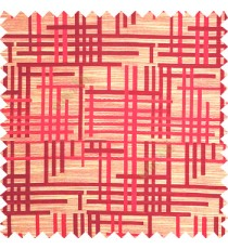 Maroon beige purple color vertical and horizontal crossing lines abstract pattern puzzle lines texture finished polyester main curtain fabric