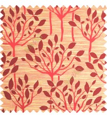 Maroon beige color natural finished tree with leaf design texture and horizontal lines polyester main curtain fabric
