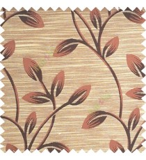 Dark brown with beige color beautiful long flower tree leaf pattern horizontal lines texture finished background polyester main curtain fabric