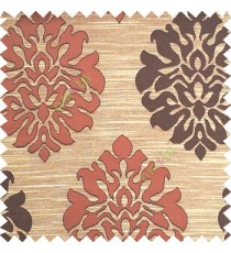 Dark brown with beige color beautiful traditional damask design texture finished background horizontal lines polyester main curtain fabric