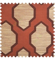 Dark brown with beige color traditional pattern horizontal lines ogee design polyester main curtain fabric