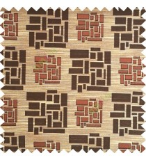 Dark brown with beige color rectangular and cube shapes geometric patterns horizontal lines polyester main curtain fabric