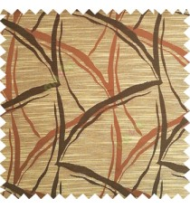 Dark brown with beige color long leaf design texture finished surface horizontal coloured lines polyester main curtain fabric