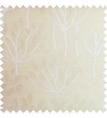 Beige color natural finished tree with leaf design texture and horizontal lines polyester main curtain fabric