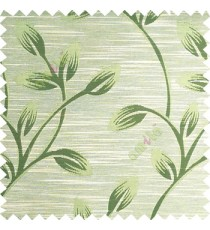 Green beige color beautiful long flower tree leaf pattern horizontal lines texture finished background polyester main curtain fabric