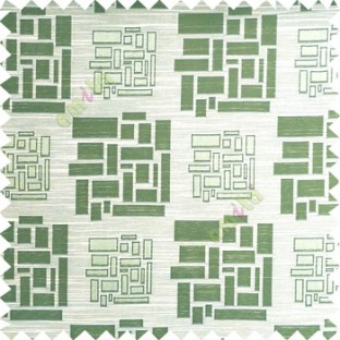 Green beige color rectangular and cube shapes geometric patterns horizontal lines polyester main curtain fabric