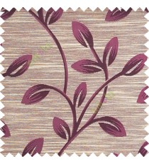 Purple color beautiful long flower tree leaf pattern horizontal lines texture finished background polyester main curtain fabric