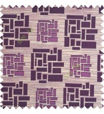 Purple color rectangular and cube shapes geometric patterns horizontal lines polyester main curtain fabric