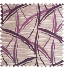 Purple color long leaf design texture finished surface horizontal coloured lines polyester main curtain fabric