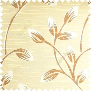 Beige and brown color beautiful long flower tree leaf pattern horizontal lines texture finished background polyester main curtain fabric