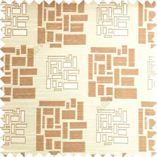 Beige and brown color rectangular and cube shapes geometric patterns horizontal lines polyester main curtain fabric