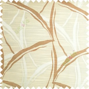 Beige color long leaf design texture finished surface horizontal coloured lines polyester main curtain fabric