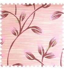 Baby pink color beautiful long flower tree leaf pattern horizontal lines texture finished background polyester main curtain fabric
