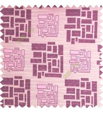 Baby pink color rectangular and cube shapes geometric patterns horizontal lines polyester main curtain fabric