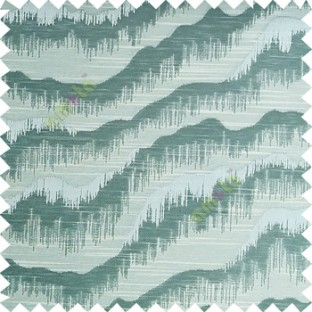 Light blue beige color horizontal flowing waves texture finished sound waves vertical hanging lines polyester main curtain fabric