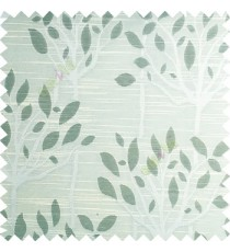 Light blue beige color natural finished tree with leaf design texture and horizontal lines polyester main curtain fabric