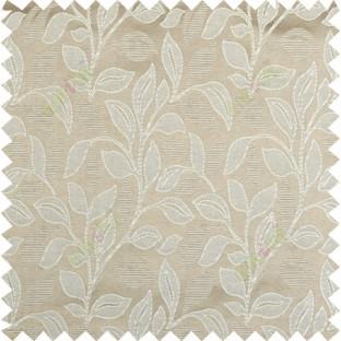 Brown beige color floral pattern polycotton main curtain designs