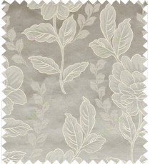 Grey beige color natural floral design polycotton main curtain designs
