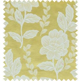 Yellow beige color natural floral design polycotton main curtain designs