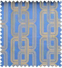 Blue yellow color contemporary retro design polycotton main curtain designs